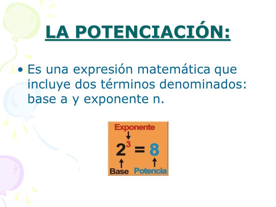 Tampoco cumple la propiedad asociativa: POTENCIA DE BASE 10 En las potencias con base 10, el resultado será la unidad desplazada tantas posiciones como indique el valor absoluto del exponente: hacia la izquierda si el exponente es positivo, o hacia la derecha si el exponente es negativo.
