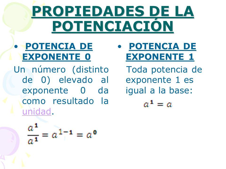 PROPIEDADES DE LA POTENCIACIÓN POTENCIA DE EXPONENTE 0 Un número (distinto de 0) elevado al exponente 0 da como resultado la unidad. unidad POTENCIA D