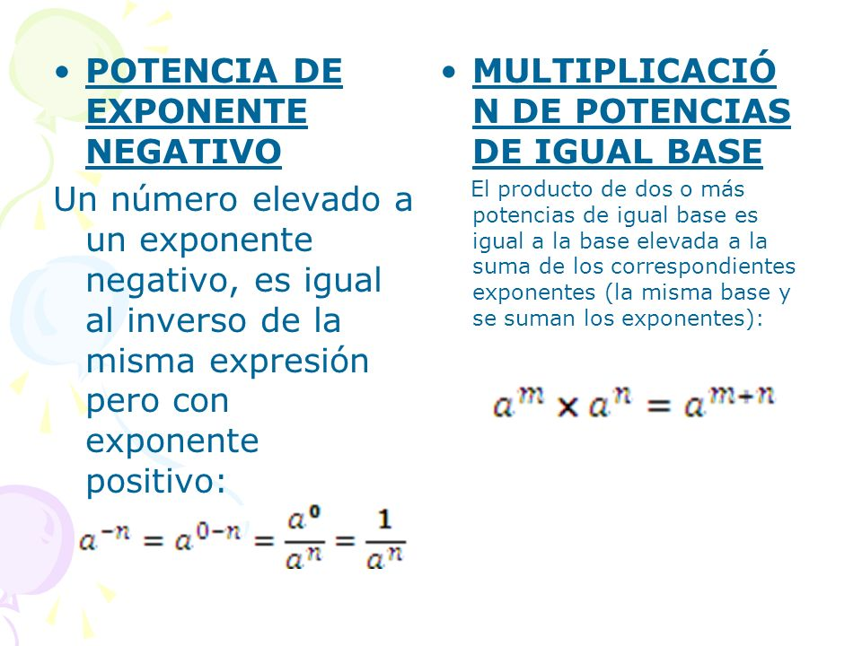 DIVISIÓN DE POTENCIAS DE IGUAL BASE La división de dos potencias de igual base es igual a la base elevada a la resta de los exponentes respectivos: POTENCIA DE UN PRODUCTO La potencia de un producto es igual al producto de los factores elevados cada uno al exponente de dicha potencia.