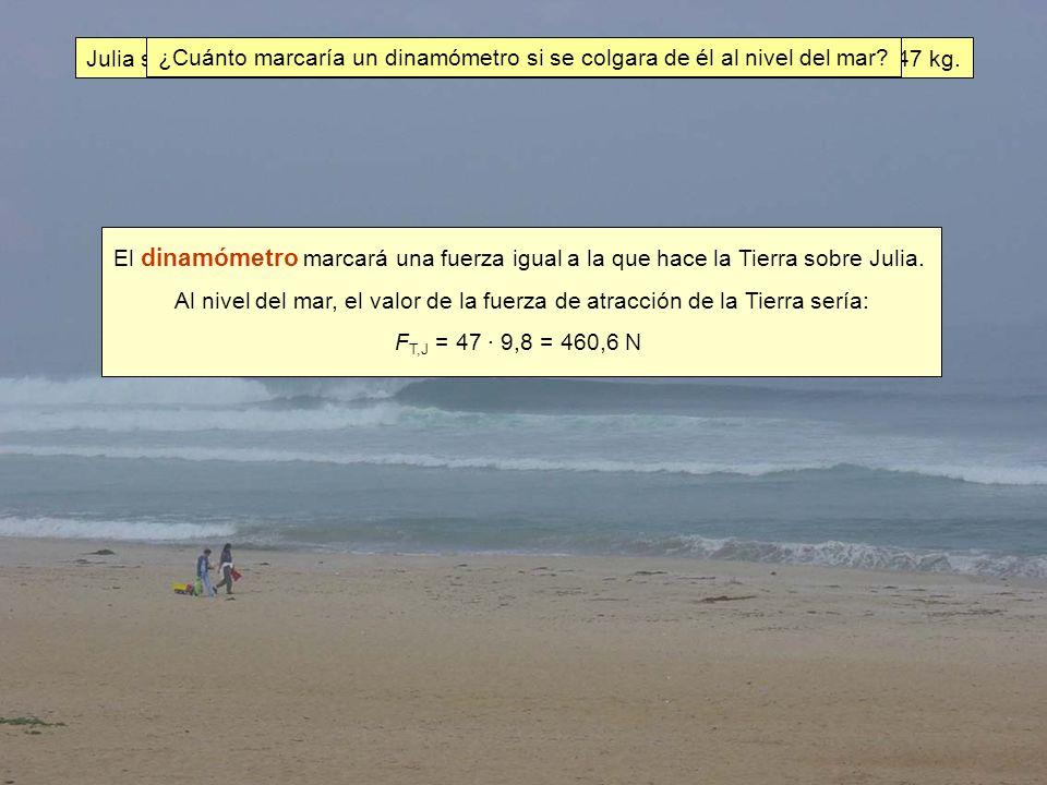 Julia se sube, al nivel del mar, en una balanza de brazos iguales y ésta marca 47 kg.
