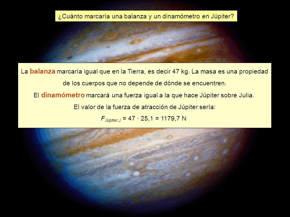 ¿Cuánto marcaría una balanza y un dinamómetro en Júpiter.