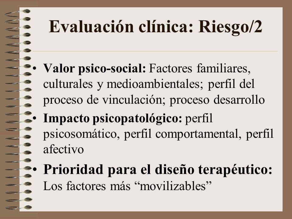 Evaluación clínica: Vulnerabilidad/1 Valor psico-orgánico: Factores constitucionales; perfil de conductas de apego Impacto psicopatológico Prioridad para el diseño terapéutico: Los factores que puedan ser más movilizables