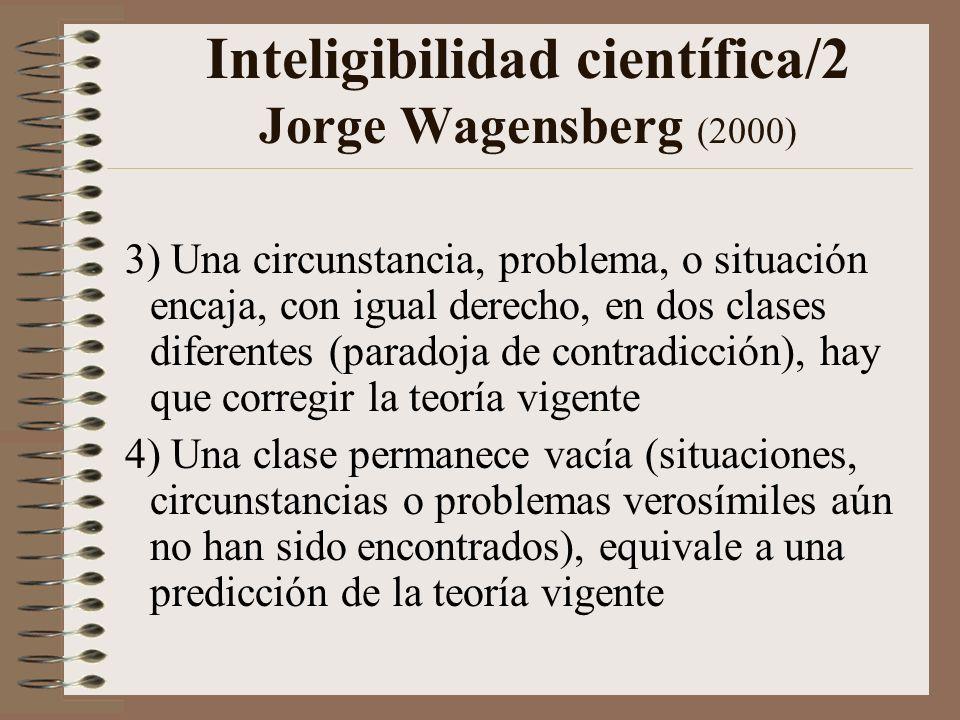 Inteligibilidad científica/1 Jorge Wagensberg (2000) Cada nueva circunstancia, problema, o situación supone un chispazo entre teoría y experiencia, pueden ocurrir cuatro cosas: 1) La situación o problema encaja en una sola clase, la teoría vigente se confirma 2) La situación no encaja en ninguna clase (paradoja de incompletud), hay que ampliar la teoría vigente