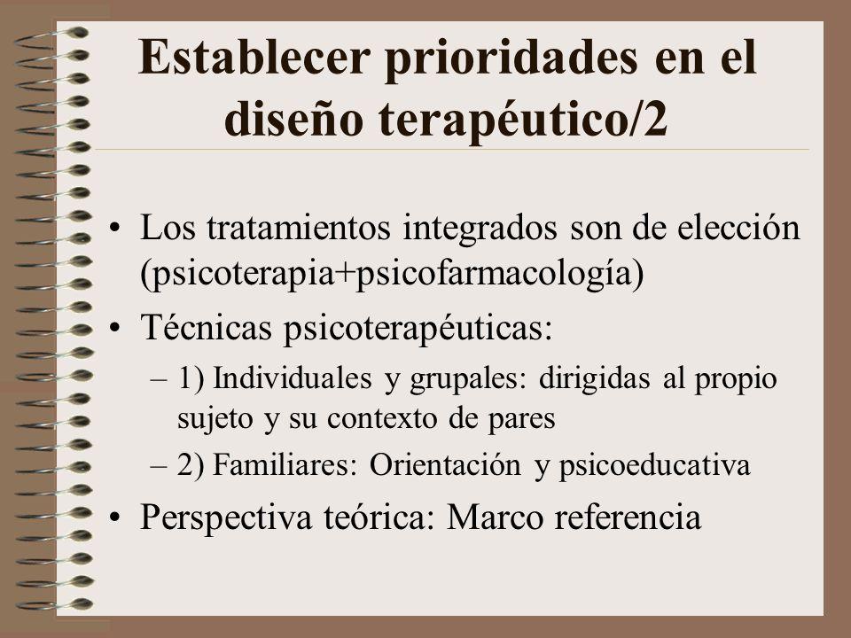 Establecer prioridades en el diseño terapéutico/1 Abordar la estabilidad y funcionamiento somático: ingreso, dietas, medicación Adecuar la oferta tera
