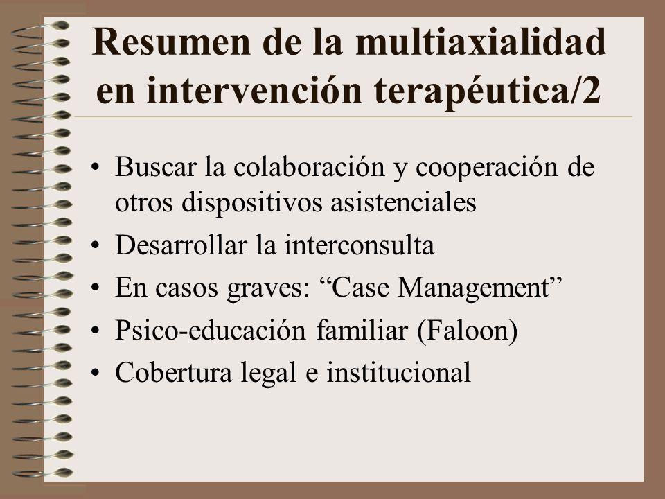 Resumen de la multiaxialidad en intervención terapéutica/1 Actitud de comprensión abierta y flexible Evitar a-priori un diagnóstico cerrado Cuestionar