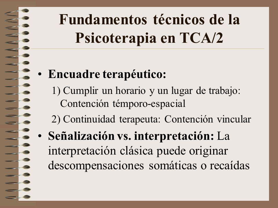Fundamentos técnicos de la Psicoterapia en TCA/1 Trabajo en equipo: 1) Previene manipulación prescripciones 2) Permite simultanear tratamientos Grupos de profesionales: Grupos tipo Balint u operativos, para abordar la difícil relación médico-paciente-familia en estos procesos