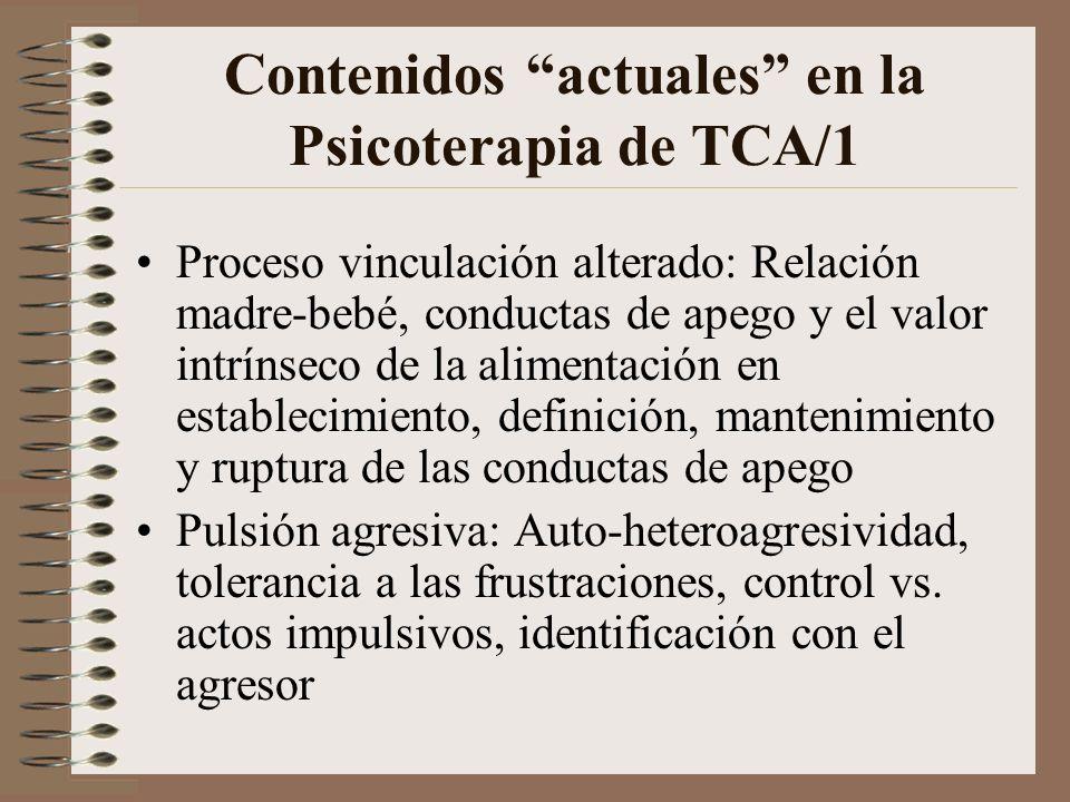 Contenidos clásicos en la Psicoterapia de TCA Conflicto entre incorporación y rechazo, que se evidencia como mecanismos de defensa de introyección-pro