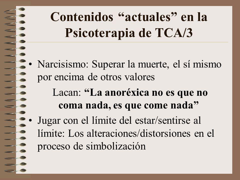 Contenidos actuales en la Psicoterapia de TCA/2 Identidad personal: Imagen corporal (real, percibida y del contexto social), autoestima, mecanismos de