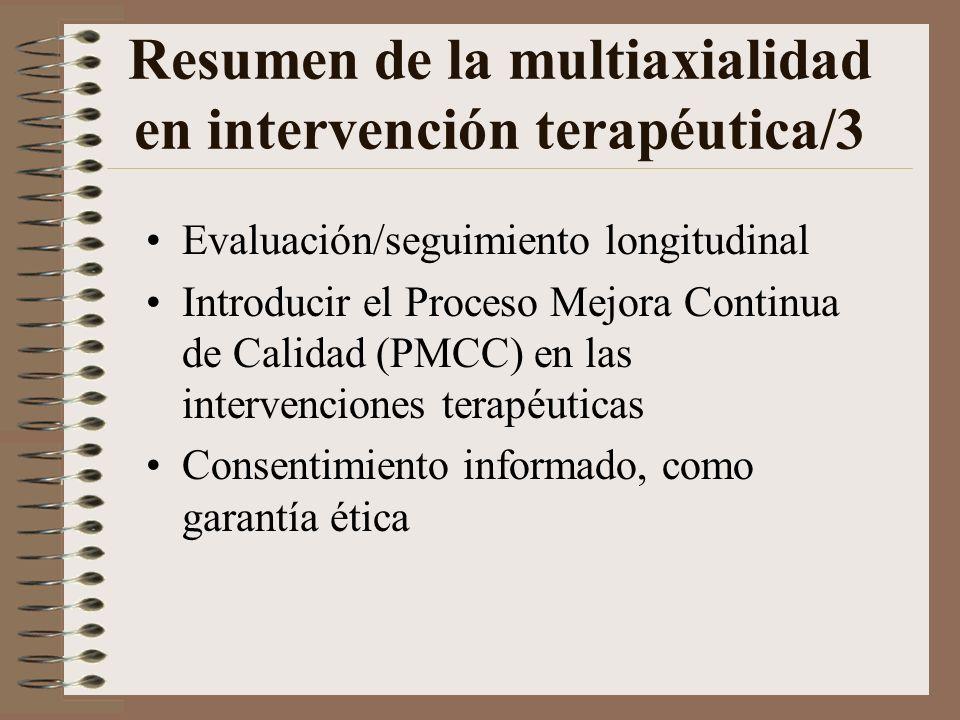 Resumen de la multiaxialidad en intervención terapéutica/2 Buscar la colaboración y cooperación de otros dispositivos asistenciales Desarrollar la int