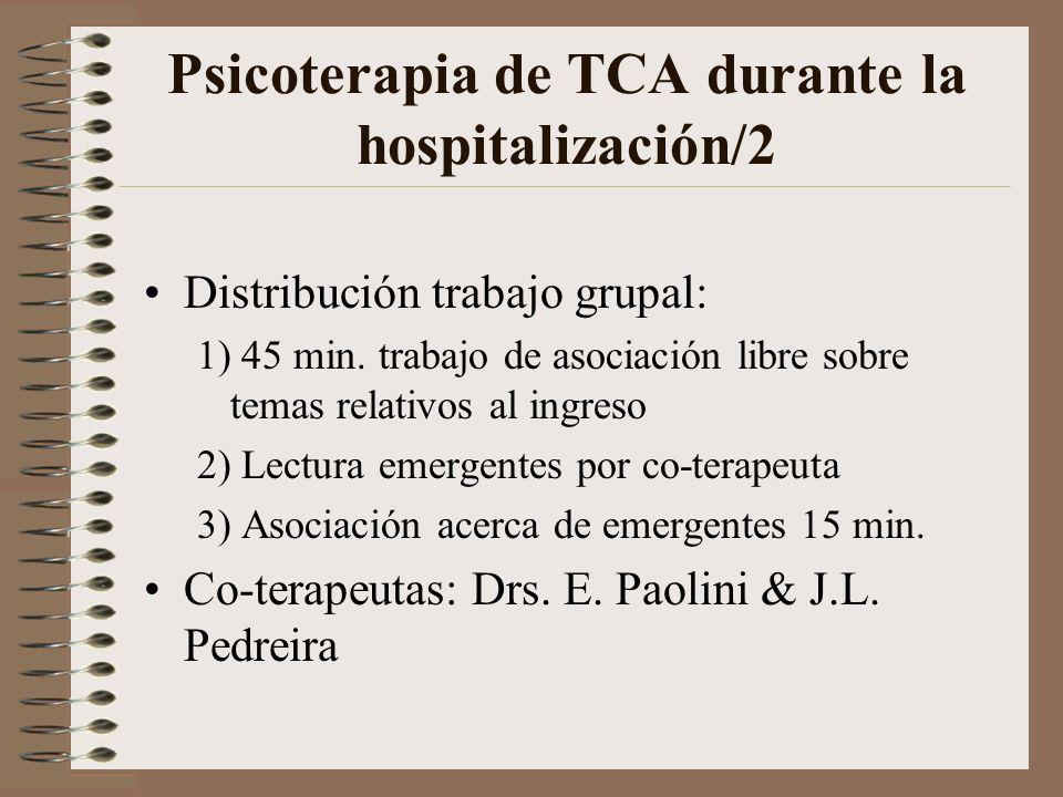 Psicoterapia de TCA durante la hospitalización/1 Objetivo del trabajo grupal: Elaborar el ingreso en grupo (identificación, causas de ingreso, situaci