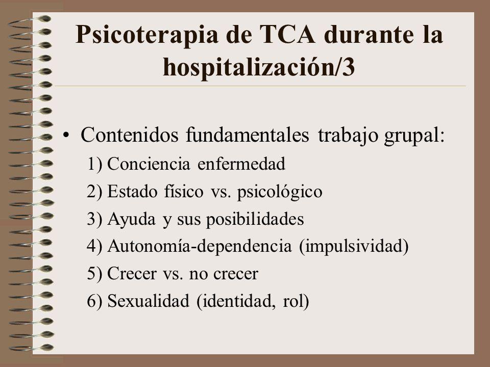 Psicoterapia de TCA durante la hospitalización/2 Distribución trabajo grupal: 1) 45 min. trabajo de asociación libre sobre temas relativos al ingreso