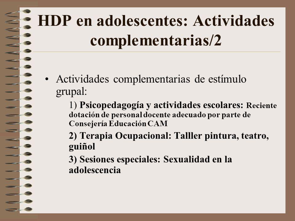 HDP en adolescentes: Actividades complementarias/1 Objetivos: –Favorecer la intertransferencia –Ruptura de repetición de programas pre-establecidos Ac