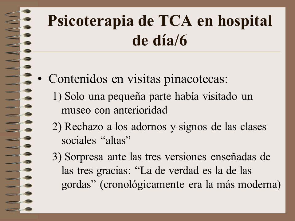 Psicoterapia de TCA en hospital de día/5 Actividades complementarias de estímulo grupal: 1) Visitas guiadas a tres pinacotecas 2) Temas trabajados: Pi