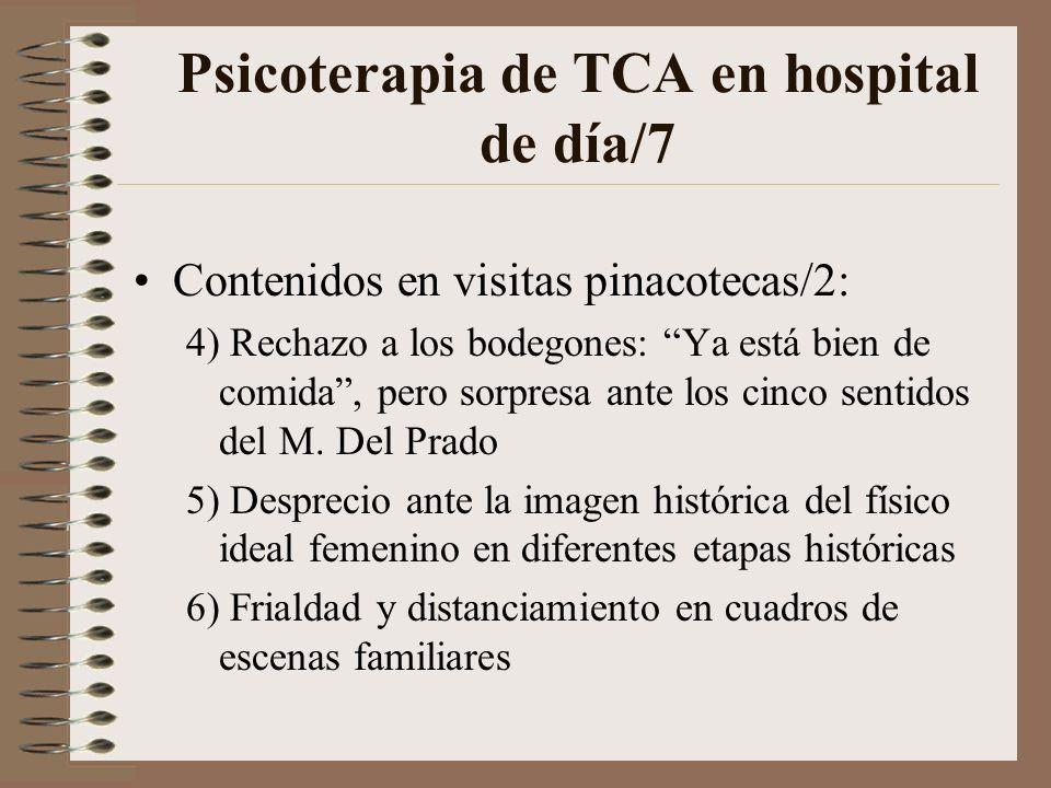 Psicoterapia de TCA en hospital de día/6 Contenidos en visitas pinacotecas: 1) Solo una pequeña parte había visitado un museo con anterioridad 2) Rech