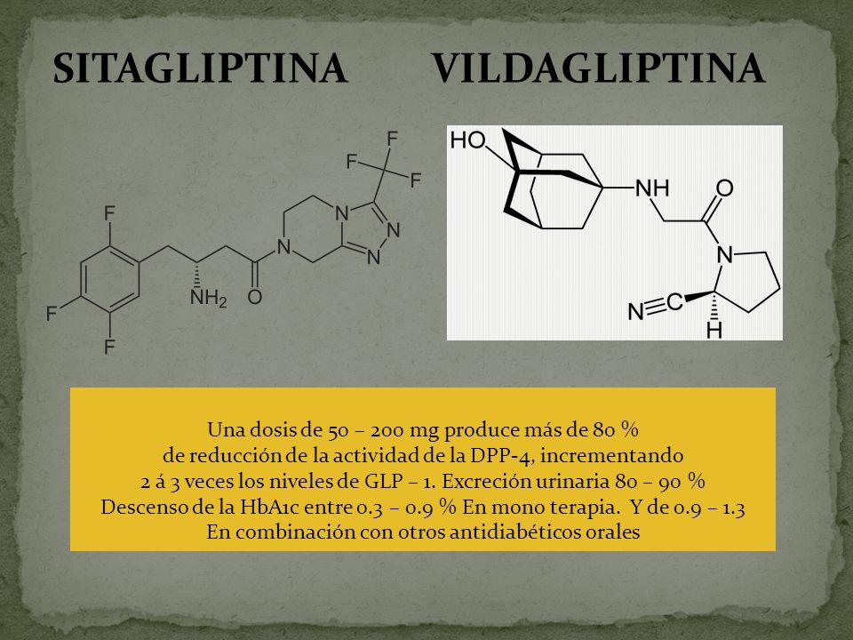 SITAGLIPTINA Una dosis de 50 – 200 mg produce más de 80 % de reducción de la actividad de la DPP-4, incrementando 2 á 3 veces los niveles de GLP – 1.