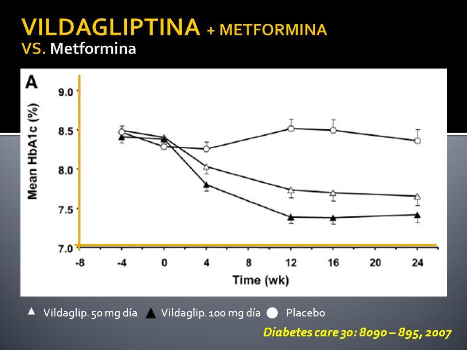 Diabetes care 30: 8090 – 895, 2007 PlaceboVildaglip. 50 mg díaVildaglip. 100 mg día