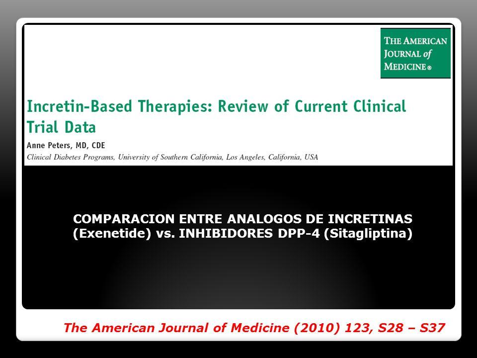 The American Journal of Medicine (2010) 123, S28 – S37 COMPARACION ENTRE ANALOGOS DE INCRETINAS (Exenetide) vs. INHIBIDORES DPP-4 (Sitagliptina)