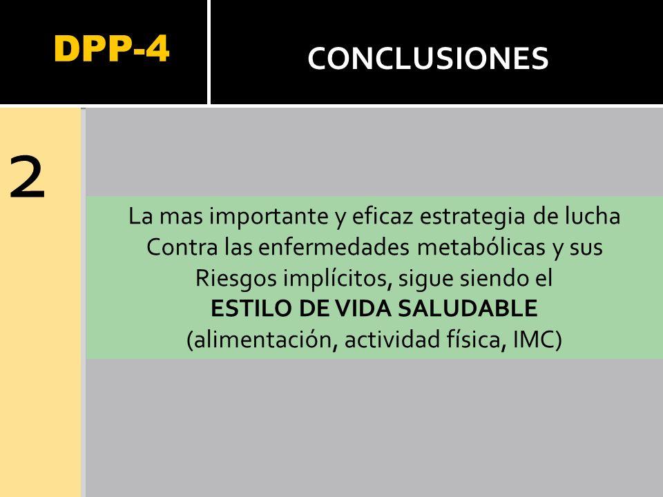 DPP-4 2 CONCLUSIONES La mas importante y eficaz estrategia de lucha Contra las enfermedades metabólicas y sus Riesgos implícitos, sigue siendo el ESTI