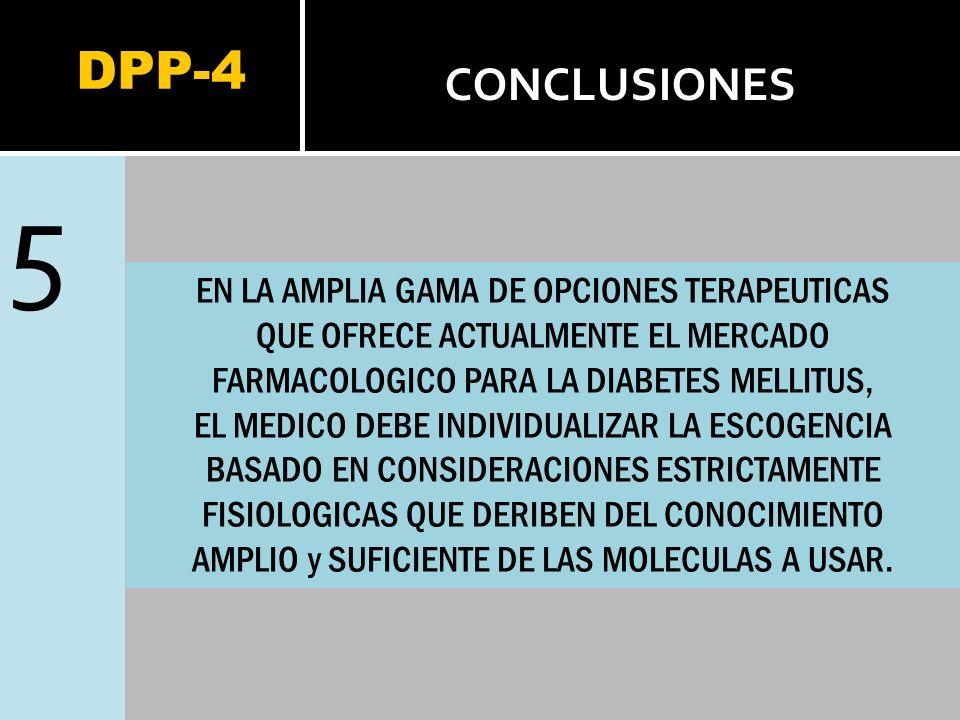 DPP-4 5 CONCLUSIONES EN LA AMPLIA GAMA DE OPCIONES TERAPEUTICAS QUE OFRECE ACTUALMENTE EL MERCADO FARMACOLOGICO PARA LA DIABETES MELLITUS, EL MEDICO D