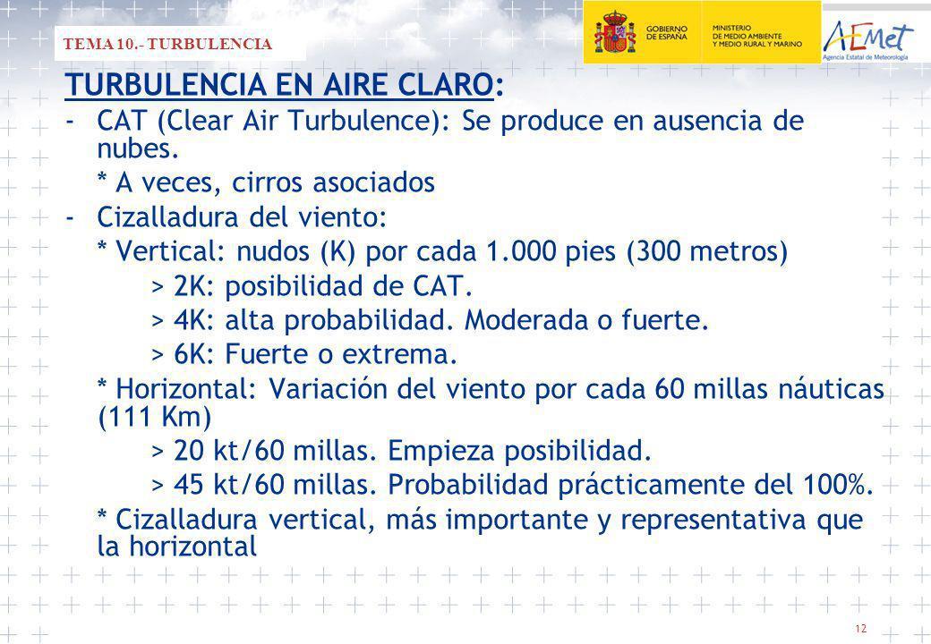 12 TURBULENCIA EN AIRE CLARO: -CAT (Clear Air Turbulence): Se produce en ausencia de nubes.