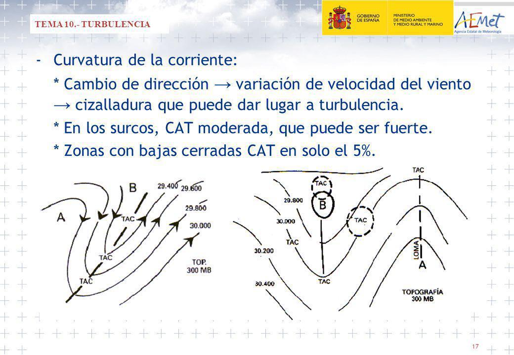 17 -Curvatura de la corriente: * Cambio de dirección variación de velocidad del viento cizalladura que puede dar lugar a turbulencia.
