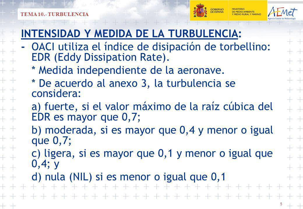 5 INTENSIDAD Y MEDIDA DE LA TURBULENCIA: -OACI utiliza el índice de disipación de torbellino: EDR (Eddy Dissipation Rate).