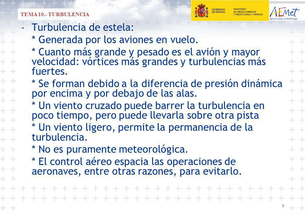 9 - Turbulencia de estela: * Generada por los aviones en vuelo.