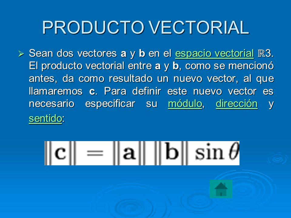 EL PRODUCTO ESCALAR En el caso particular de dos vectores en el plano, o en un espacio euclídeo N-dimensional, se define como el producto de sus módulos multiplicado por el coseno del ángulo θ que forman.