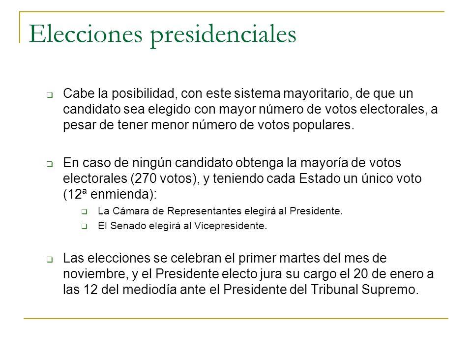Elecciones presidenciales Cabe la posibilidad, con este sistema mayoritario, de que un candidato sea elegido con mayor número de votos electorales, a