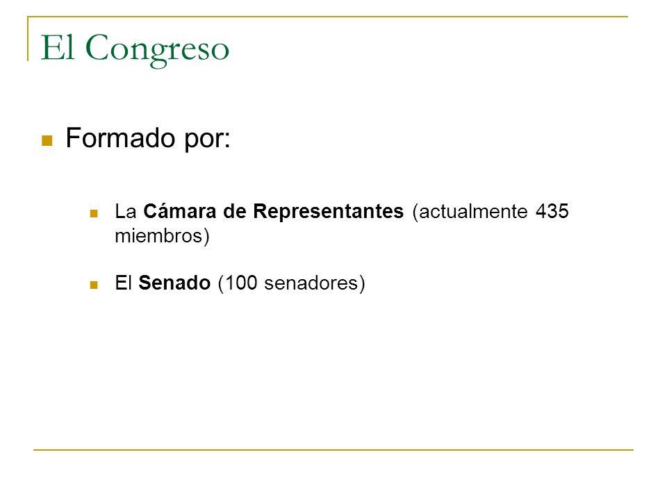 El Congreso Formado por: La Cámara de Representantes (actualmente 435 miembros) El Senado (100 senadores)