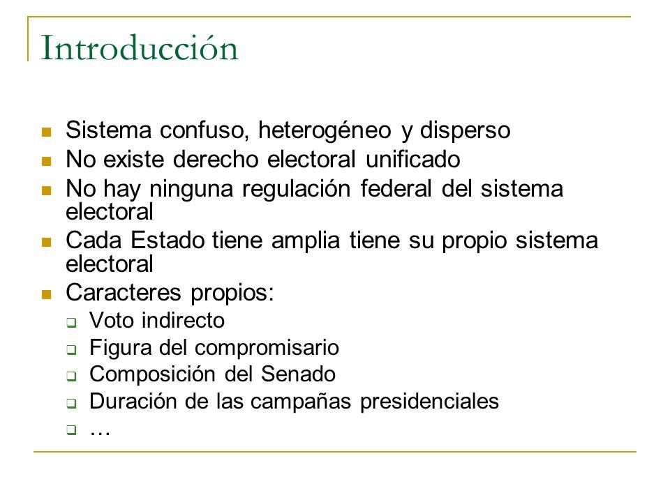 Introducción Sistema confuso, heterogéneo y disperso No existe derecho electoral unificado No hay ninguna regulación federal del sistema electoral Cad