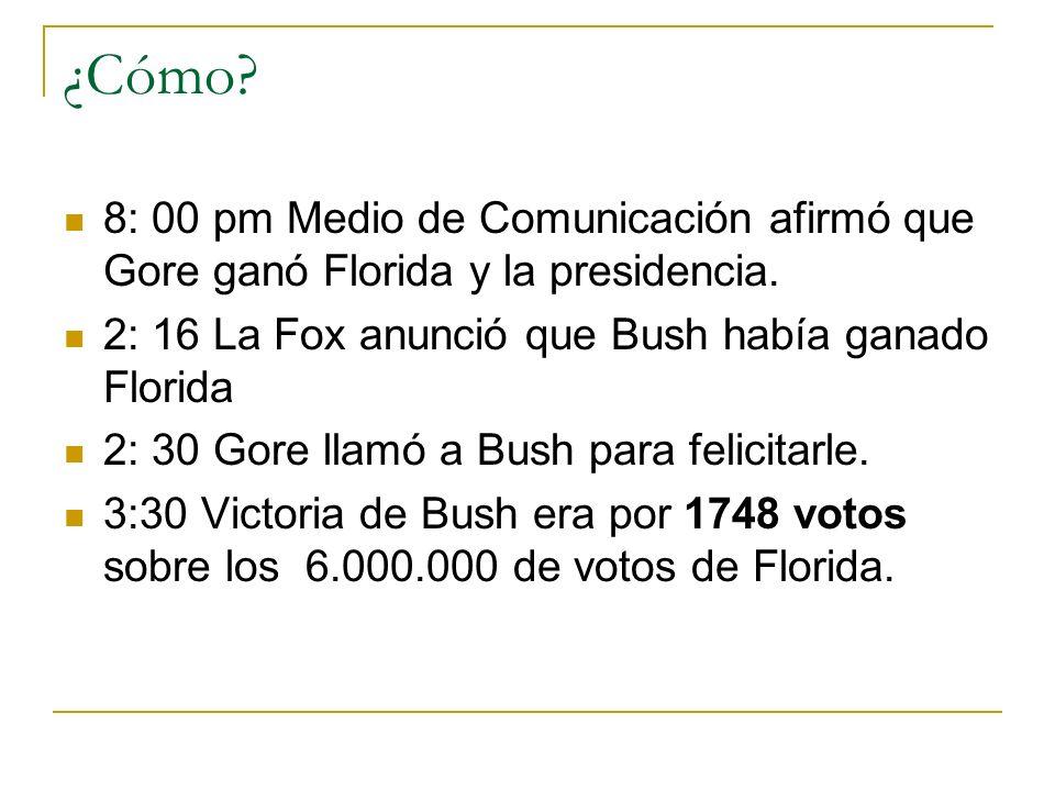¿Cómo? 8: 00 pm Medio de Comunicación afirmó que Gore ganó Florida y la presidencia. 2: 16 La Fox anunció que Bush había ganado Florida 2: 30 Gore lla