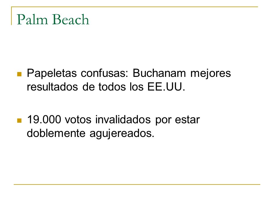 Palm Beach Papeletas confusas: Buchanam mejores resultados de todos los EE.UU. 19.000 votos invalidados por estar doblemente agujereados.