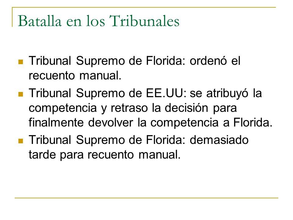 Batalla en los Tribunales Tribunal Supremo de Florida: ordenó el recuento manual. Tribunal Supremo de EE.UU: se atribuyó la competencia y retraso la d