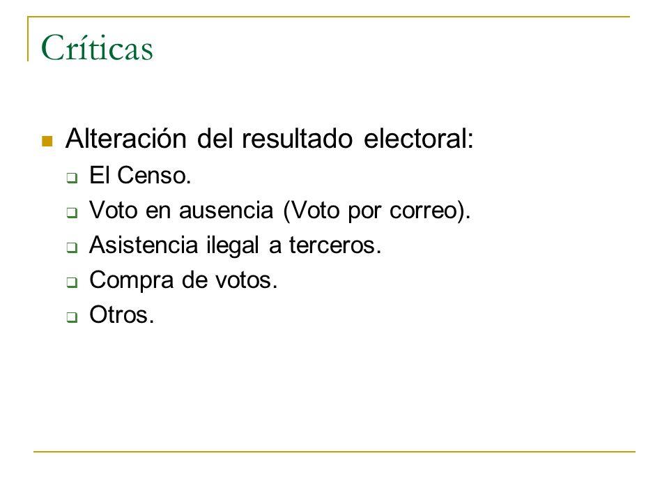 Críticas Alteración del resultado electoral: El Censo. Voto en ausencia (Voto por correo). Asistencia ilegal a terceros. Compra de votos. Otros.