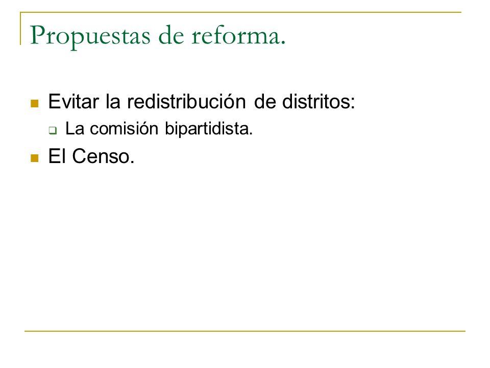 Propuestas de reforma. Evitar la redistribución de distritos: La comisión bipartidista. El Censo.