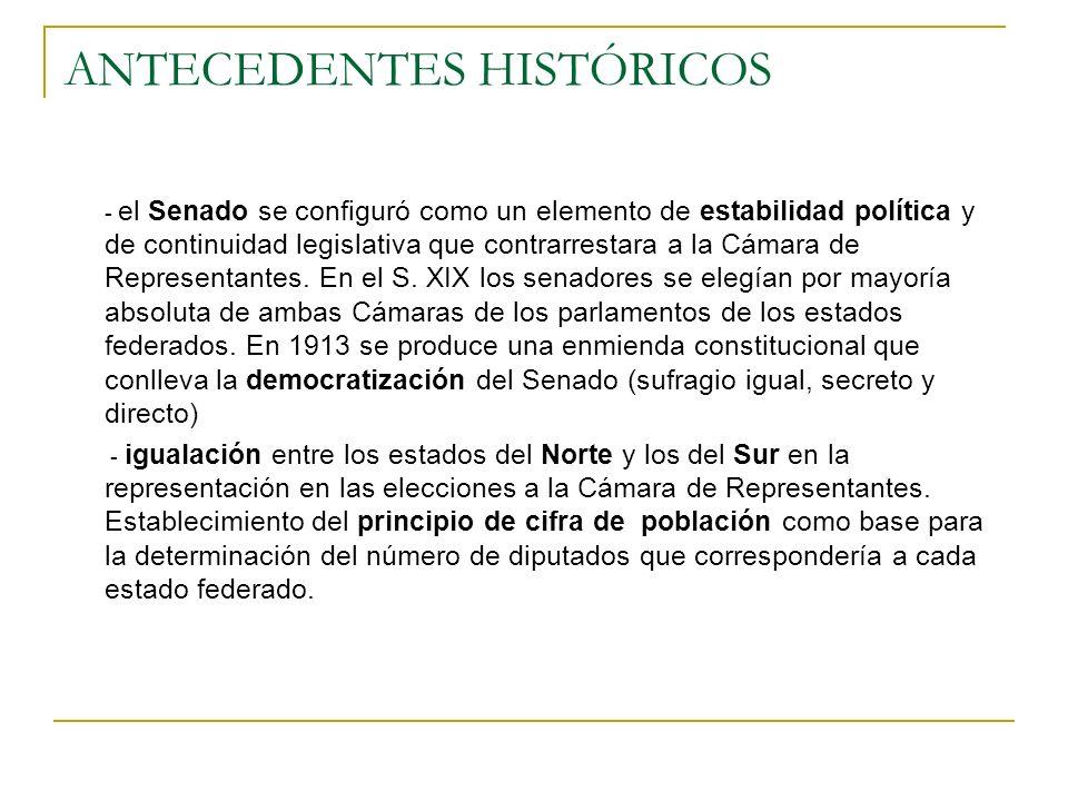 ANTECEDENTES HISTÓRICOS - el Senado se configuró como un elemento de estabilidad política y de continuidad legislativa que contrarrestara a la Cámara