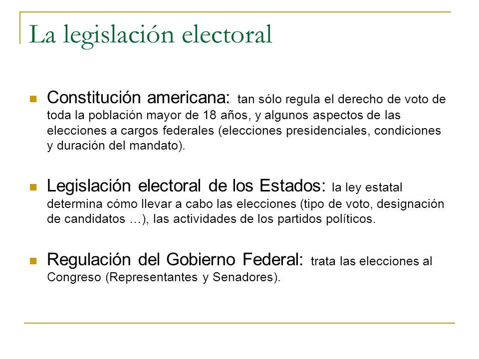 La legislación electoral Constitución americana: tan sólo regula el derecho de voto de toda la población mayor de 18 años, y algunos aspectos de las e