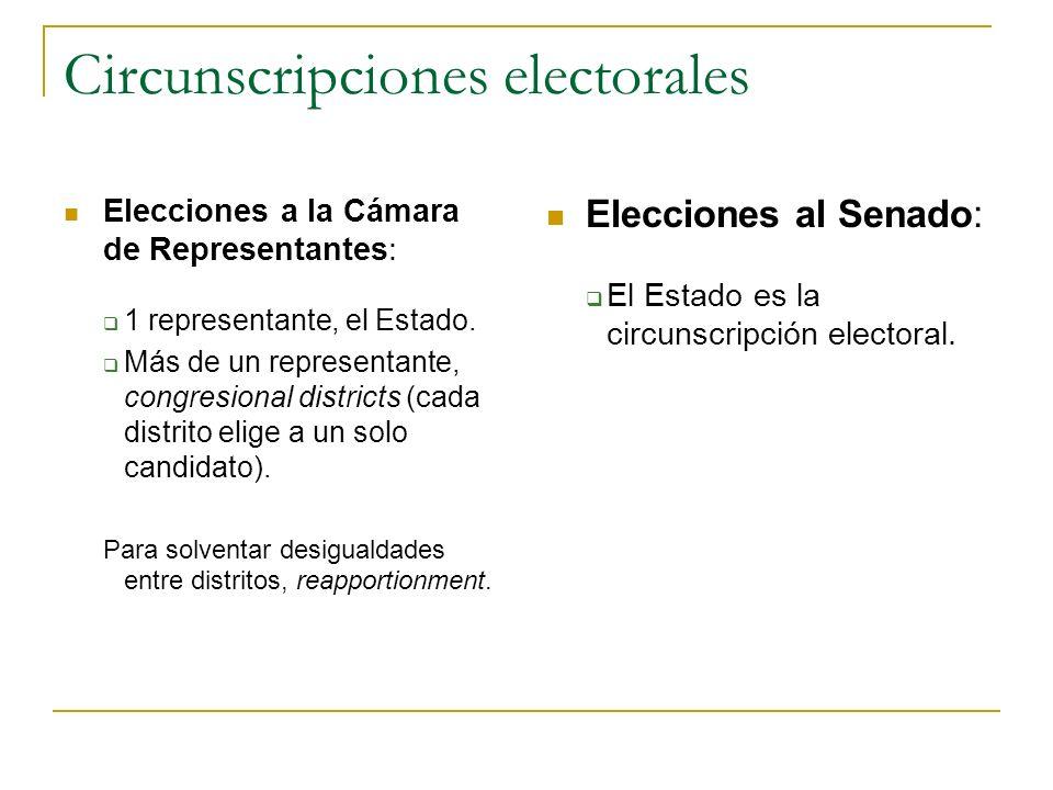 Circunscripciones electorales Elecciones a la Cámara de Representantes: 1 representante, el Estado. Más de un representante, congresional districts (c