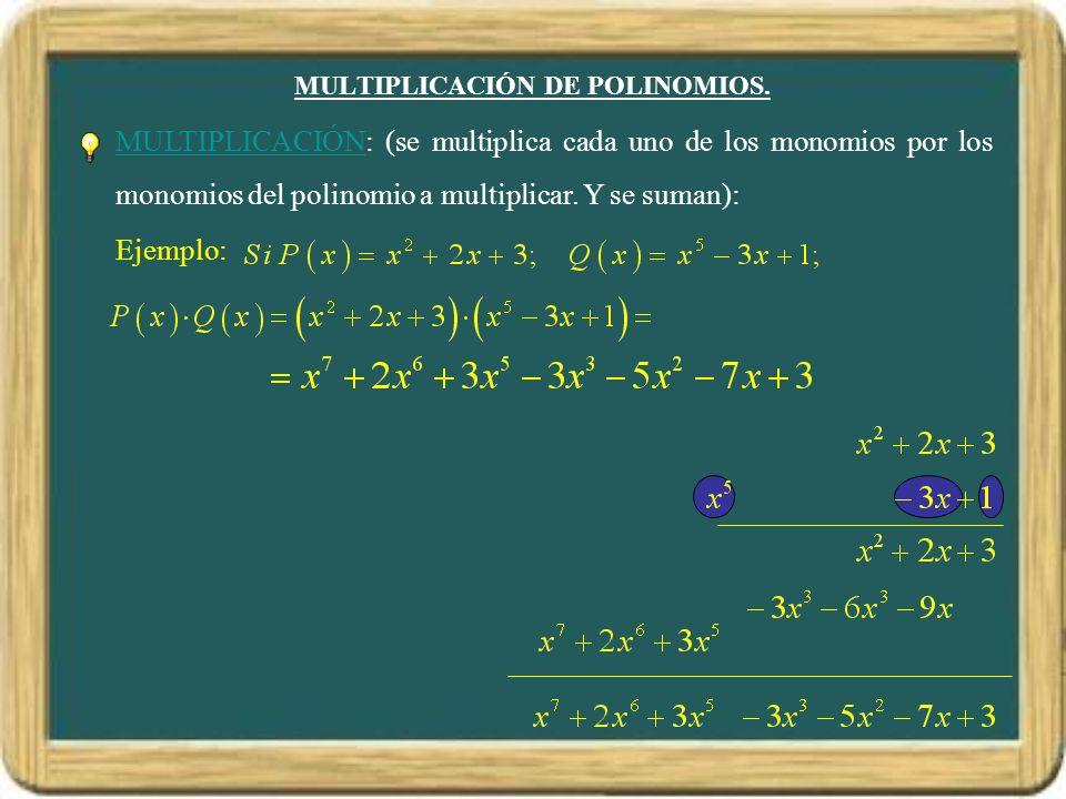 MULTIPLICACIÓN DE POLINOMIOS. MULTIPLICACIÓN: (se multiplica cada uno de los monomios por los monomios del polinomio a multiplicar. Y se suman): Ejemp