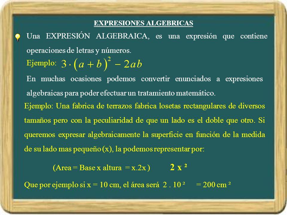 EXPRESIONES ALGEBRICAS Una EXPRESIÓN ALGEBRAICA, es una expresión que contiene operaciones de letras y números. Ejemplo: En muchas ocasiones podemos c