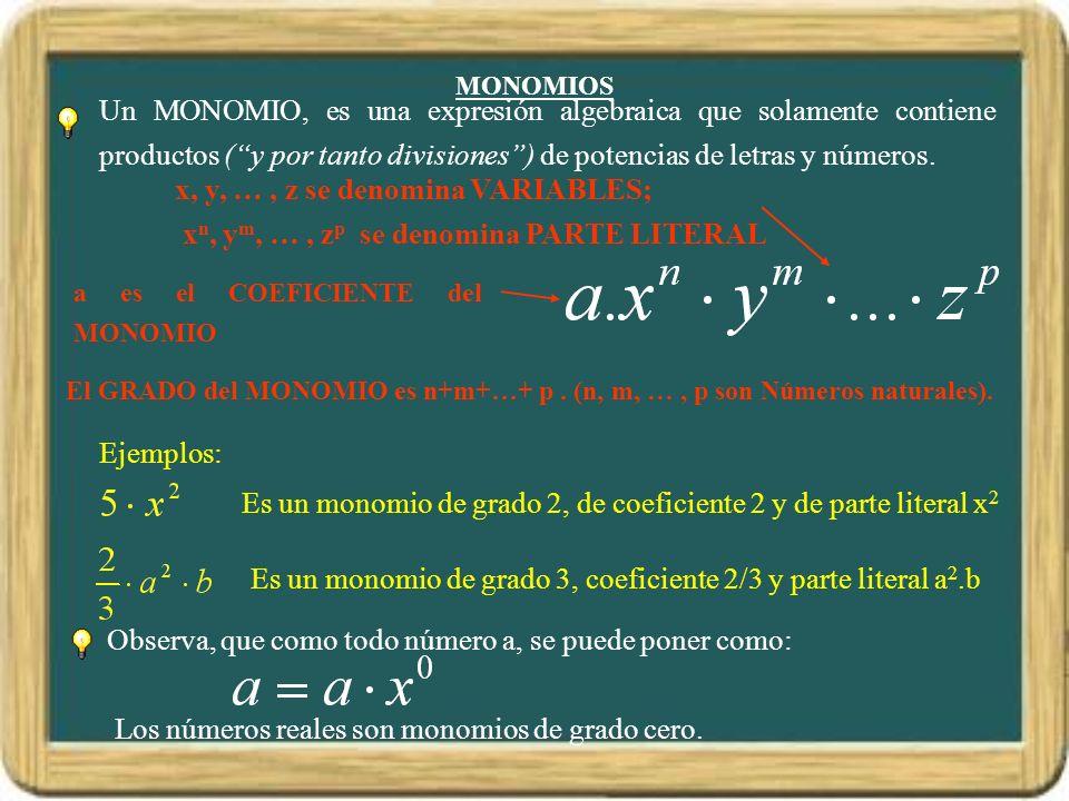 MONOMIOS a es el COEFICIENTE del MONOMIO x, y, …, z se denomina VARIABLES; x n, y m, …, z p se denomina PARTE LITERAL Observa, que como todo número a,