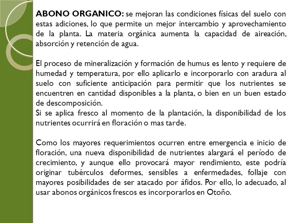 ABONO ORGANICO: se mejoran las condiciones físicas del suelo con estas adiciones, lo que permite un mejor intercambio y aprovechamiento de la planta.