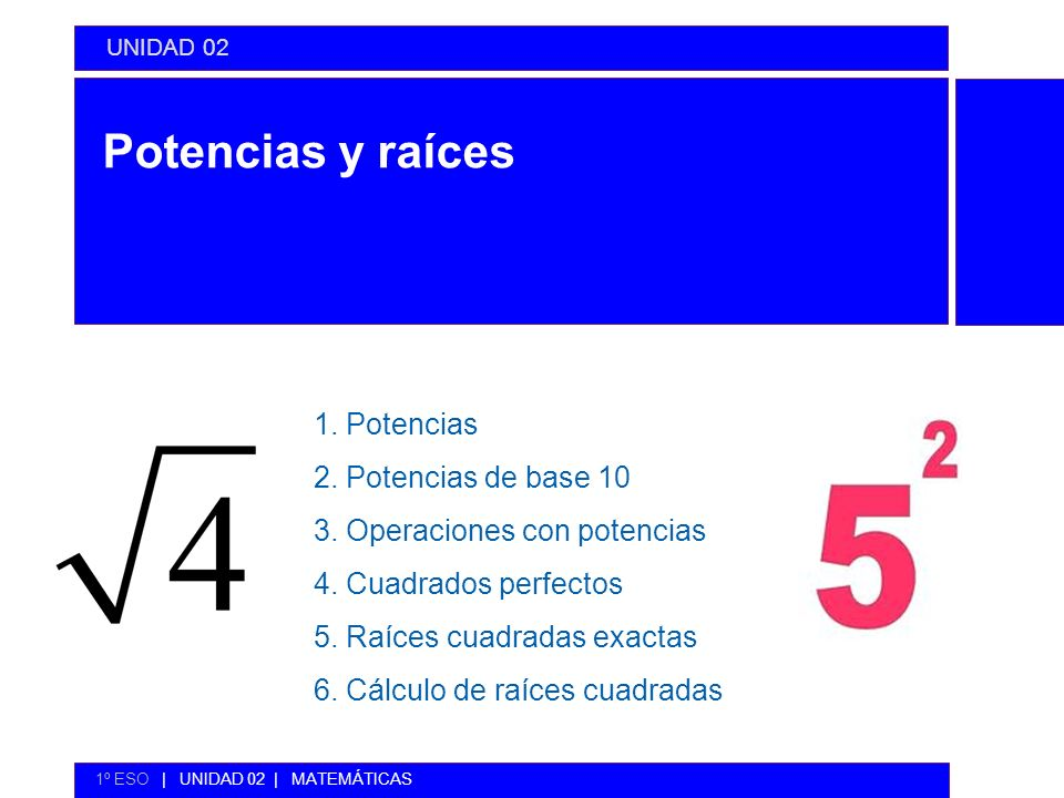 Potencias y raíces 1. Potencias 2. Potencias de base 10 3. Operaciones con potencias 4. Cuadrados perfectos 5. Raíces cuadradas exactas 6. Cálculo de