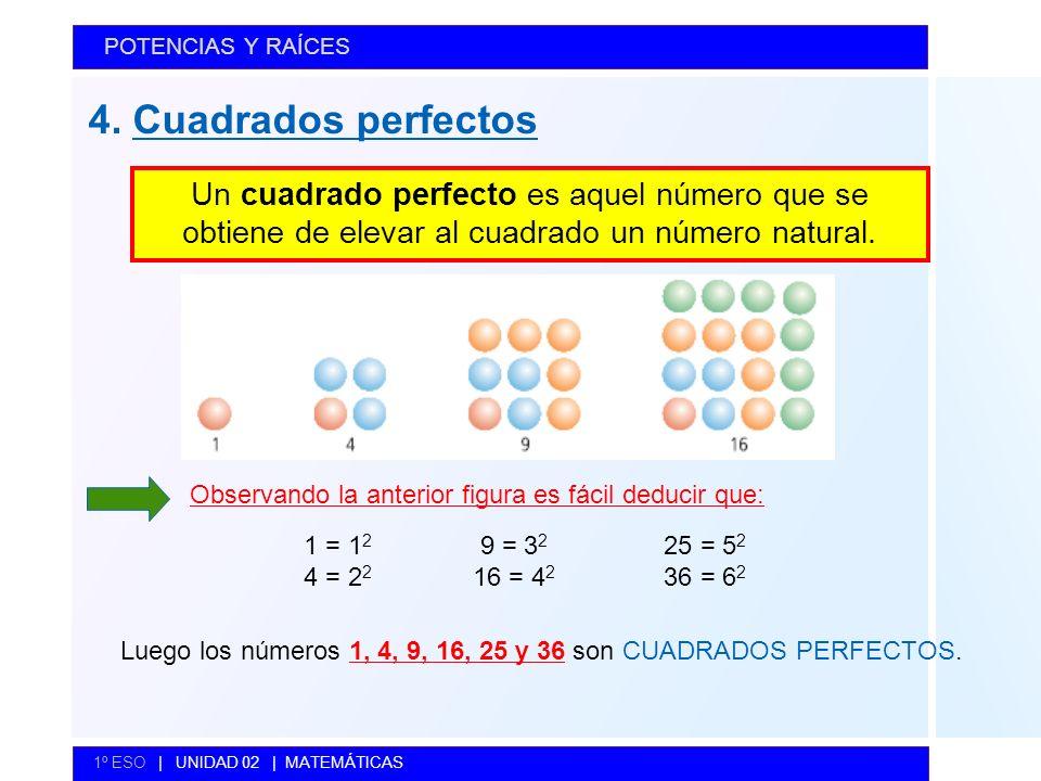 4. Cuadrados perfectos POTENCIAS Y RAÍCES 1º ESO | UNIDAD 02 | MATEMÁTICAS Un cuadrado perfecto es aquel número que se obtiene de elevar al cuadrado u