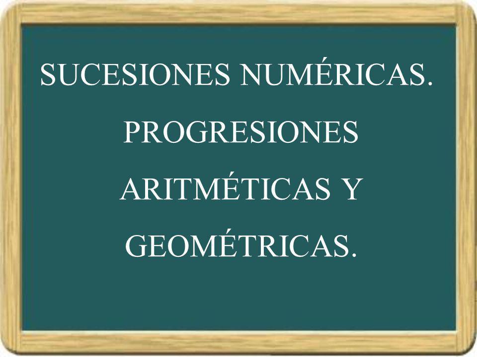 SUCESIONES SUCESIONES NUMÉRICAS Una SUCESIÓN NUMÉRICA es un conjunto ordenado de números: { 1, 3, 5, 7, 9, … } Si dicho conjunto es FINITO, decimos que la sucesión es FINITA, y si es INTINITO, decimos que la sucesión es INFINITA.