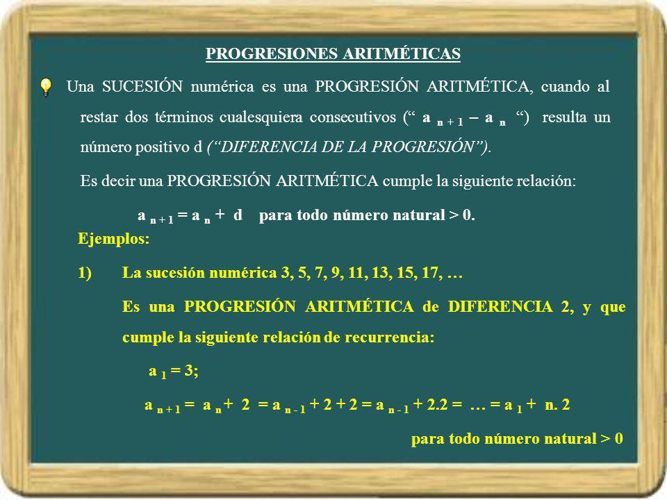 PROGRESIONES ARITMÉTICAS Una SUCESIÓN numérica es una PROGRESIÓN ARITMÉTICA, cuando al restar dos términos cualesquiera consecutivos ( a n + 1 – a n )
