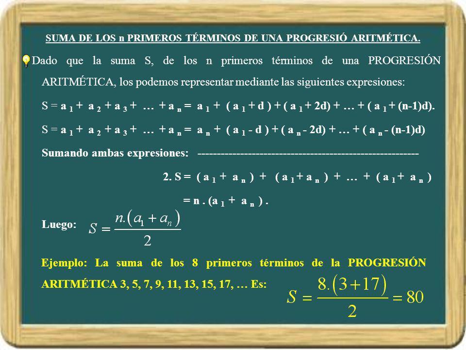 SUMA DE LOS n PRIMEROS TÉRMINOS DE UNA PROGRESIÓ ARITMÉTICA. Dado que la suma S, de los n primeros términos de una PROGRESIÓN ARITMÉTICA, los podemos