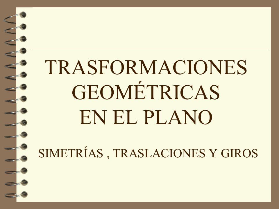 TRASFORMACIONES GEOMÉTRICAS EN EL PLANO SIMETRÍAS, TRASLACIONES Y GIROS