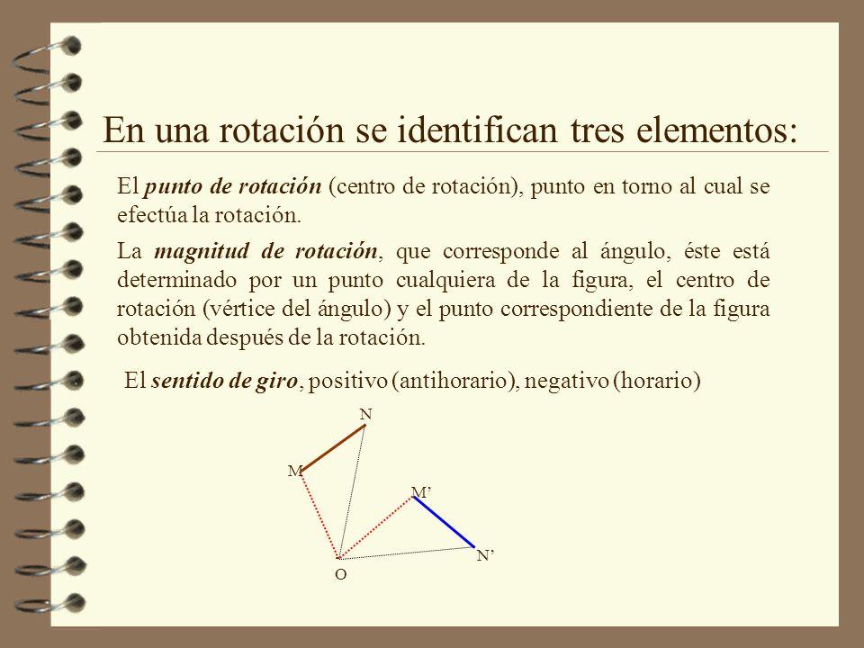 En una rotación se identifican tres elementos: El punto de rotación (centro de rotación), punto en torno al cual se efectúa la rotación.